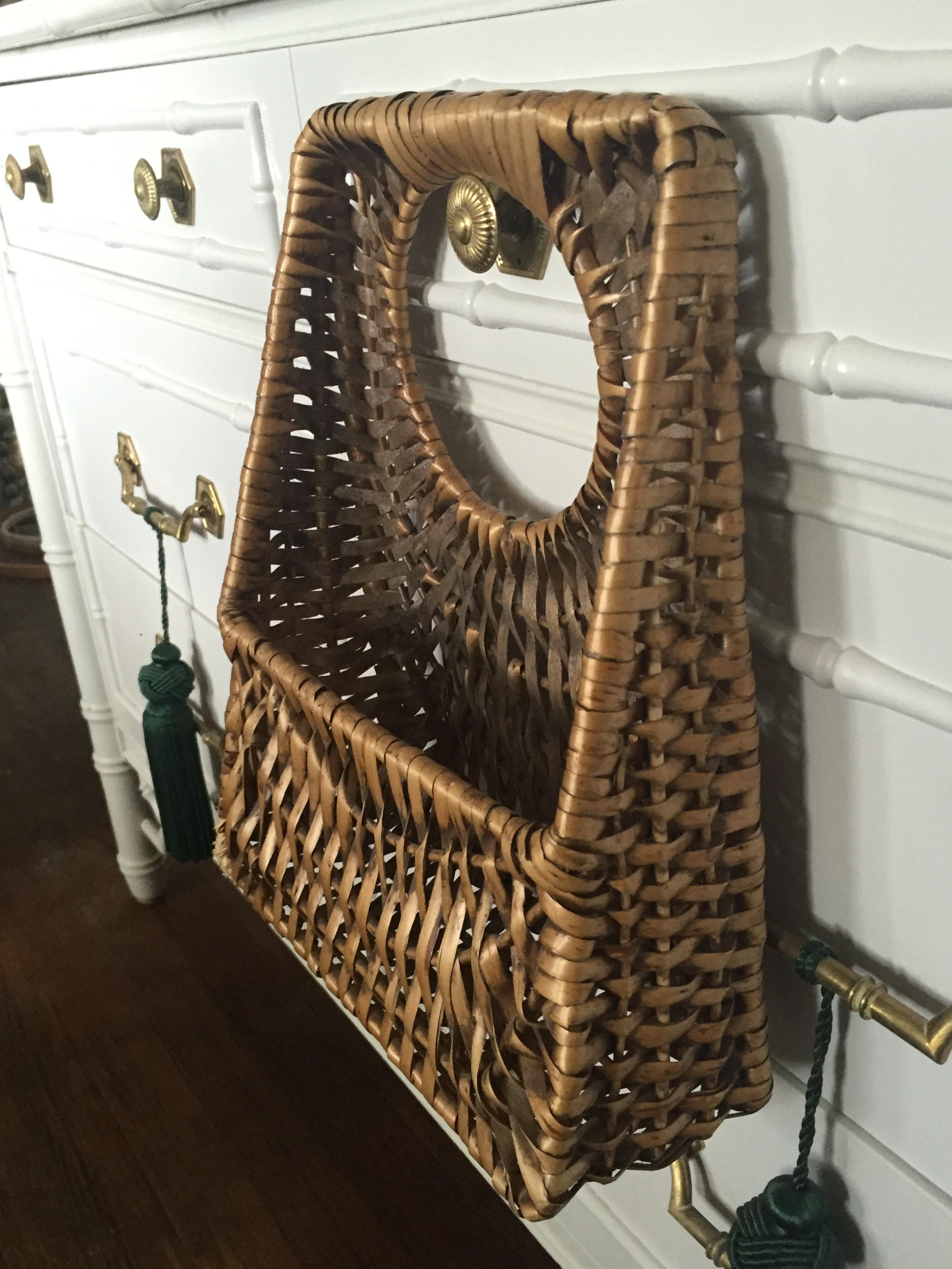 French Wicker Hanging Basket Front Door Decor - Image 5 of 10  sc 1 st  Chairish & French Wicker Hanging Basket Front Door Decor | Chairish