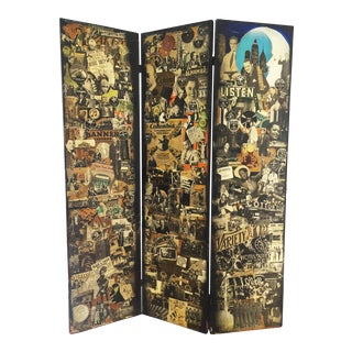 Exceptional Decoupage Folding Screen 1940s For Sale
