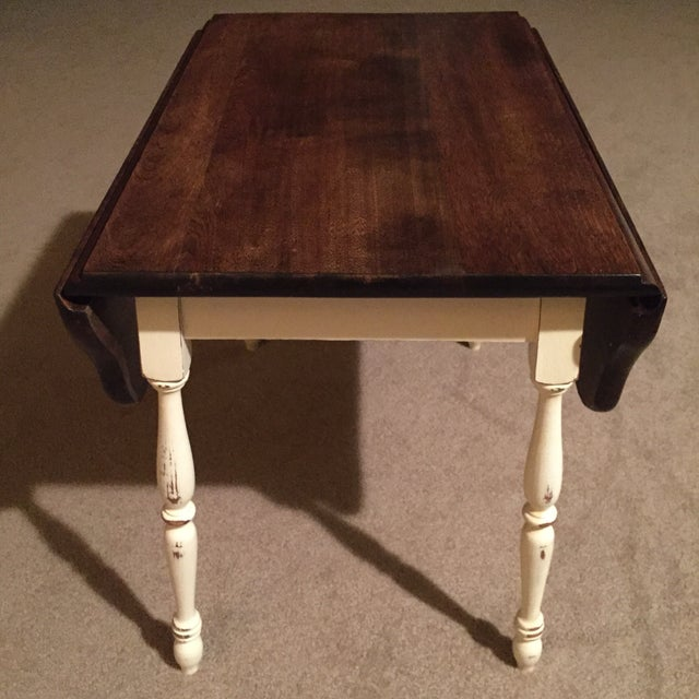Farmhouse Style Vintage Drop Leaf Side Table For Sale - Image 7 of 8