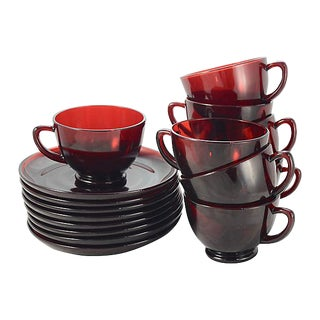 Ruby Red Glass Cups & Saucers - Set of 8 (16 Pieces) For Sale