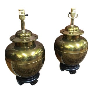 Mid-Century Brass Ginger Jar Lamps - A Pair For Sale