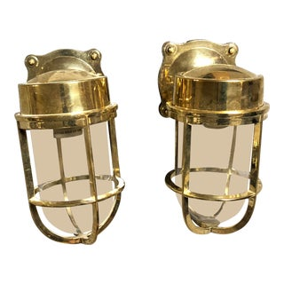 Industrial Gold Interior Sconces - a Pair For Sale