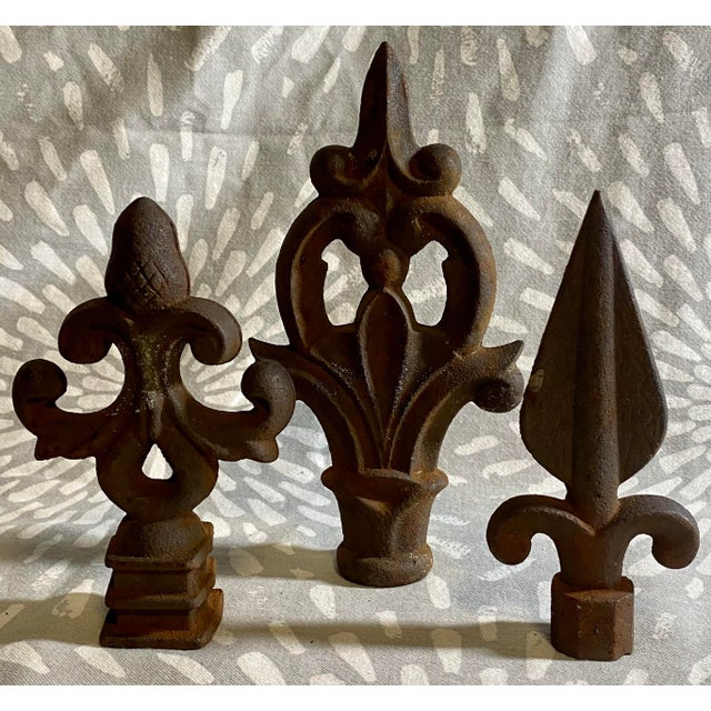 Metal Antique Rustic Cast Iron Fence Finials - Set of 3 For Sale - Image 7 of 7