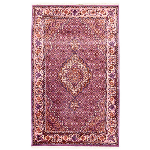 "Anglo-Indian Traditional Pasargad N Y Tabriz Mahi Design Silk & Wool Rug - 3' X 4'10"" For Sale - Image 3 of 5"