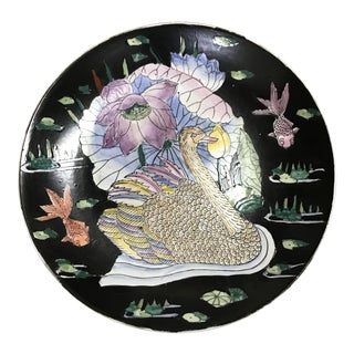 Asian Motif Hand Painted Decorative Plate For Sale