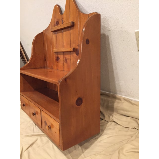 Cottage 1950s Early American Pine Shelf Unit Telephone For Sale - Image 3 of 13