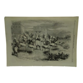 """Mid 19th Century Antique The London Illustrated News """"Riffian Nupital Dance in Tangier"""" Print For Sale"""