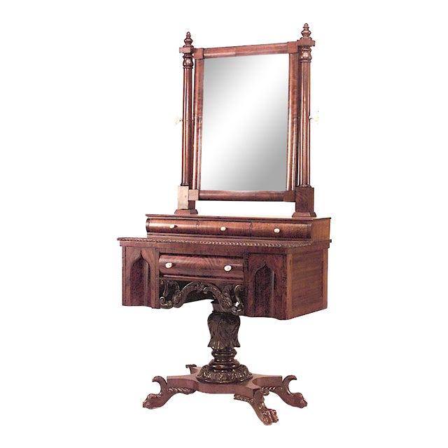 American Empire Gothic Mahogany Dressing Table For Sale