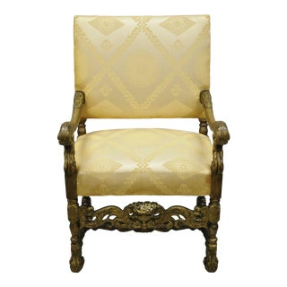 Early 20th Century Antique Italian Renaissance Carved Walnut Jacobean Style Arm Chair For Sale
