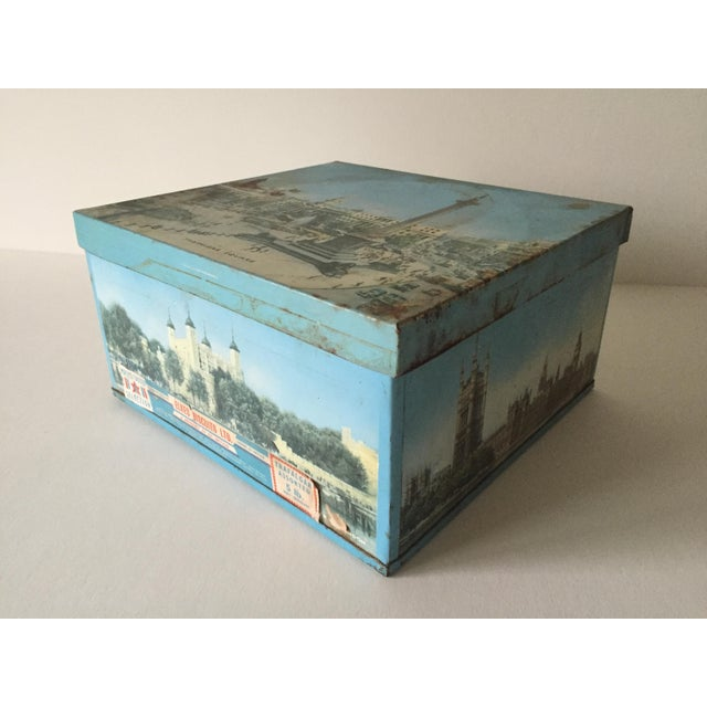 1940's Elkes Ltd. Trafalgar Large Square English Biscuit Tin Box With Lid For Sale - Image 7 of 11