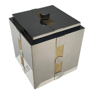 Art Deco Style Nickel and Brass Ice Bucket
