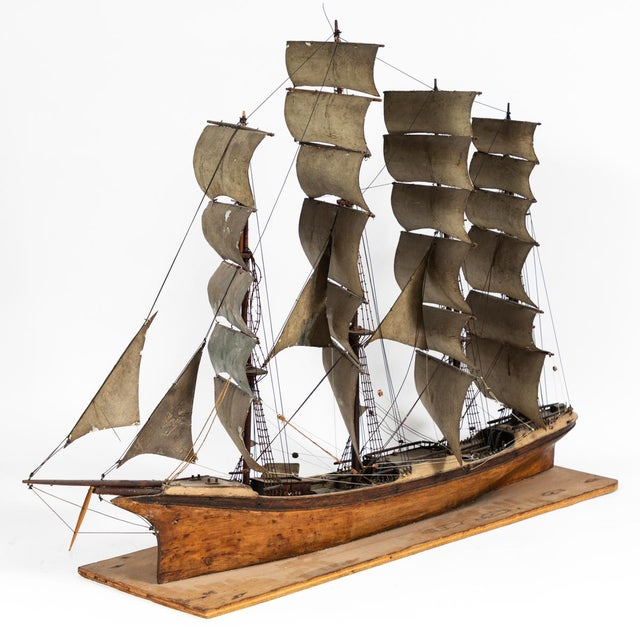 Wood Late 19th Century Handmade Wooden Ship Model From France For Sale - Image 7 of 11