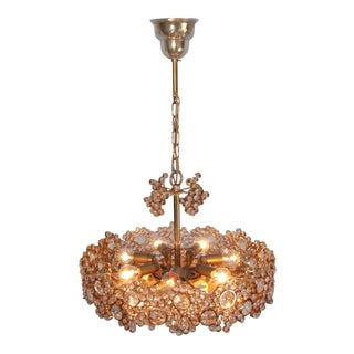 One of Two Palwa Gilded Brass and Crystal Glass Encrusted Chandeliers For Sale