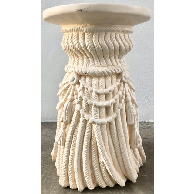 Mid-Century Modern Rope and Tassels Plaster Side Table For Sale - Image 3 of 6