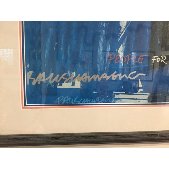"""People for the American Way"" Rauschenberg signed in the print image size 28.75h x 21.5w. The original larger ltd ed..."