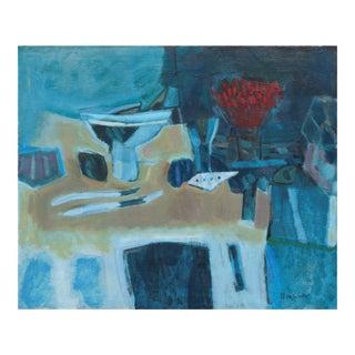 William Hixson, Large Post-Impressionist 'Interior in Scarlet and Blue', Circa 1955 For Sale