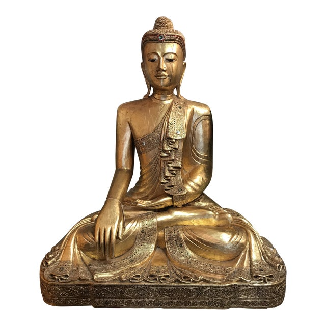 Antique Hand Carved Wood & Gold Buddha For Sale