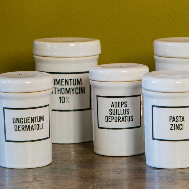 1930s Set of Seven Ironstone Pharmacy Jars For Sale - Image 5 of 7