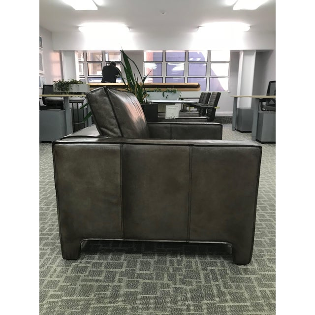 Rustic Gray Leather Lounge Chair For Sale - Image 3 of 6