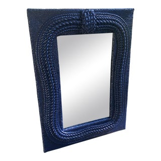 Newly Lacquered Large Vintage Nautical Rope Mirror For Sale