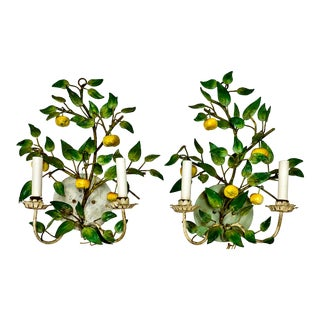 1960s Hollywood Regency Italian Tole Fruit Sconces - a Pair For Sale
