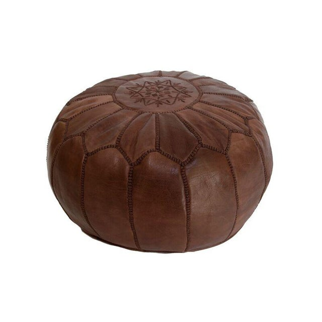 Brown Moroccan Leather Pouf - Image 3 of 3