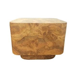 Vintage Burl Wood Veneer End Table For Sale