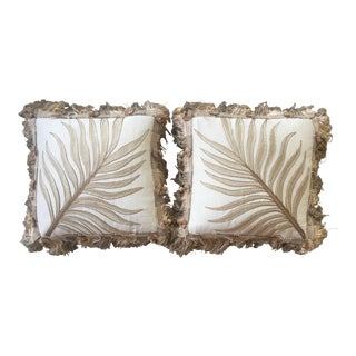 Vintage Custom Embroidered Pillows - a Pair For Sale