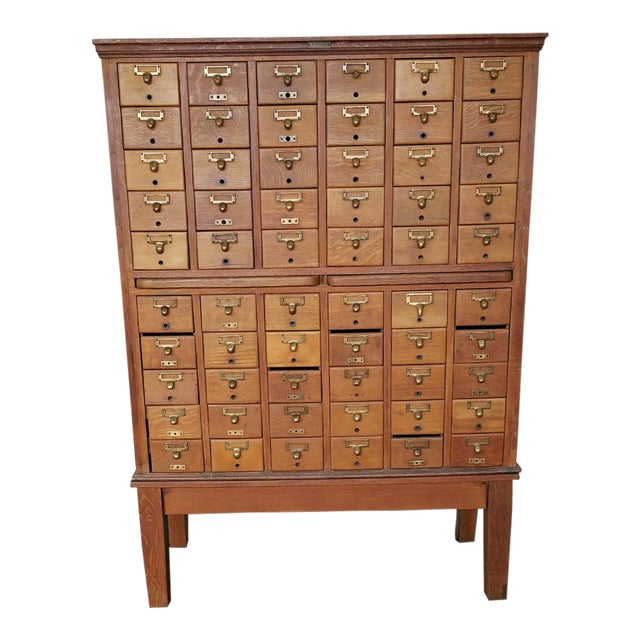 Vintage Quartered Oak Gaylord Bros. Inc 60 Drawer Library Index Card  Catalog File Cabinet on Stand - Vintage Quartered Oak Gaylord Bros. Inc 60 Drawer Library Index Card