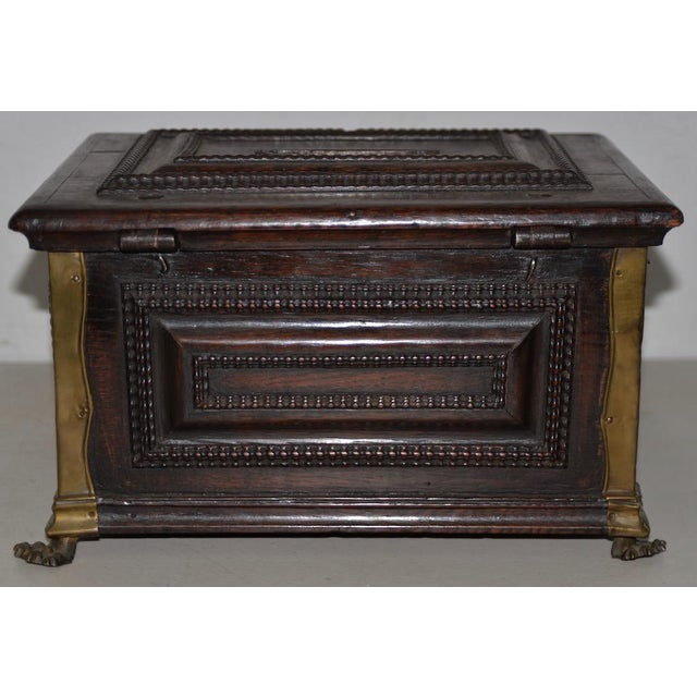 Early 18th Century Carved Walnut & Brass Alms Box C. 1724 For Sale In San Francisco - Image 6 of 13