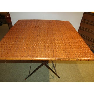 Vintage Country Woven Rattan Folding Card Game Table Preview