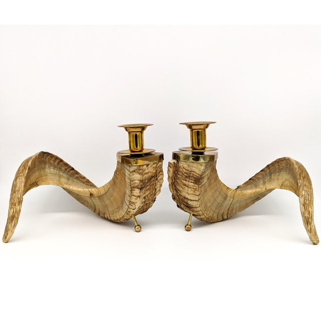 1960's Ram's Horn and Brass Candlesticks - a Pair For Sale - Image 10 of 10