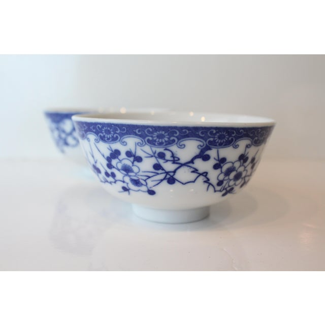Mid 20th Century Vintage Blue and White Chinese Rice Bowls - a Pair For Sale - Image 5 of 7