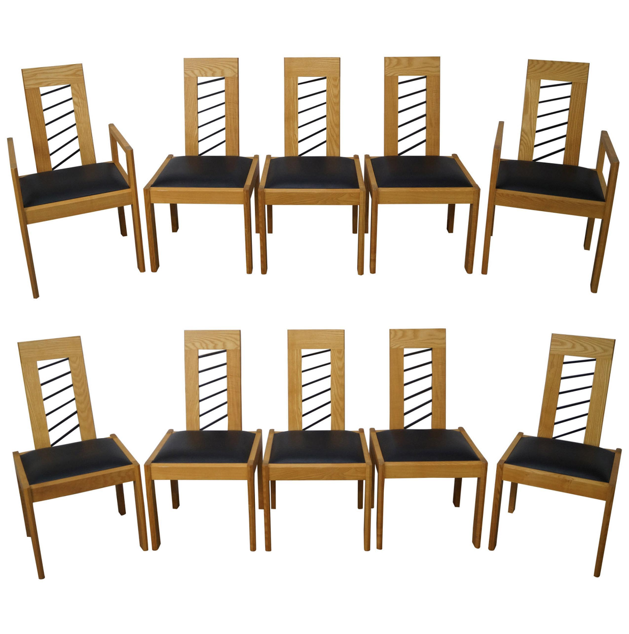 Superbe Miles Carter Contemporary Ash Wood Dining Chairs   Set Of 10