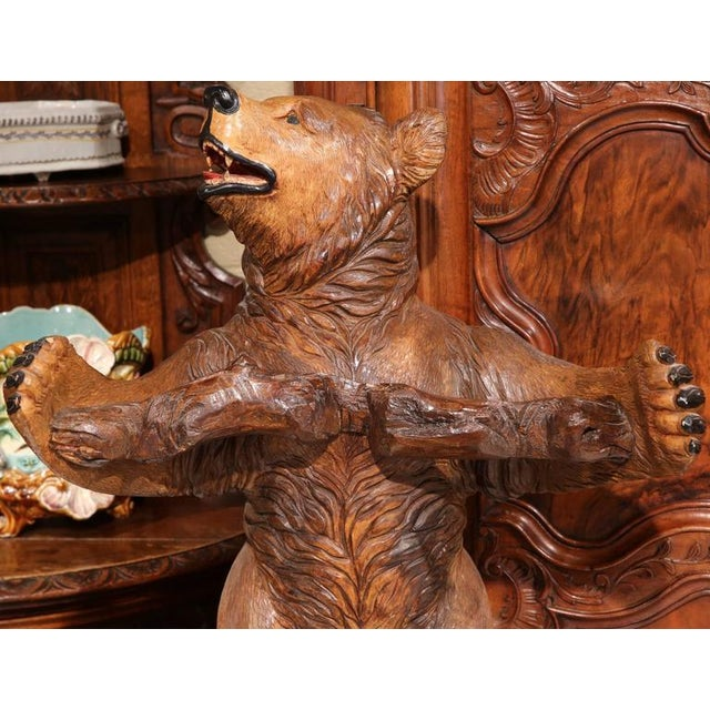 1920s Early 20th Century French Carved Black Forest Three-Gun Holder Bear Sculpture For Sale - Image 5 of 9
