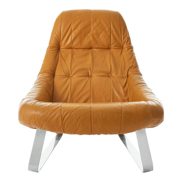 Percival Lafer 'Earth' Chrome & Leather Lounge Chair For Sale