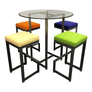 Johnston Casuals Bistro Bar Table + Four Stools - Dining Set