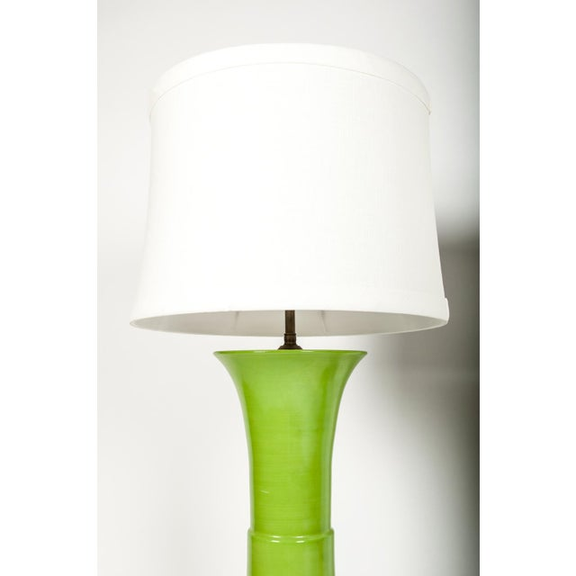 Mid-Century Modern Pair of Green Porcelain Task Lamps For Sale - Image 3 of 10