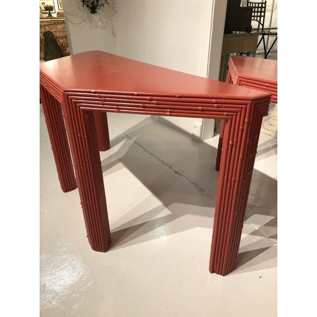 Chinese Red Bamboo Style Console Tables - a Pair For Sale In Atlanta - Image 6 of 13