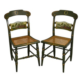 Hitchcock Thomas Jefferson Monticello Limited Edition Painted Pair Chairs (A) For Sale