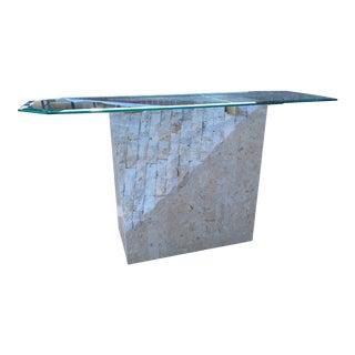 Maitland-Smith Style Tessellate Stone Console Sofa Table For Sale