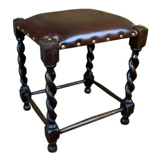 19th Century English Brown Leather Barleytwist Footstool Ottoman For Sale