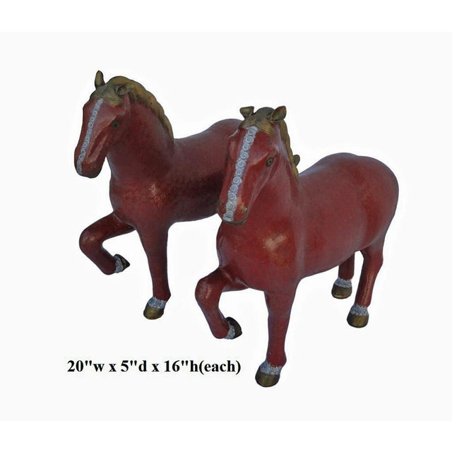 Red Chinese Bronze Horse Figures - A Pair For Sale - Image 8 of 8