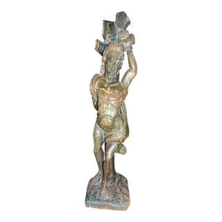 Italian Carved Wood Statue For Sale