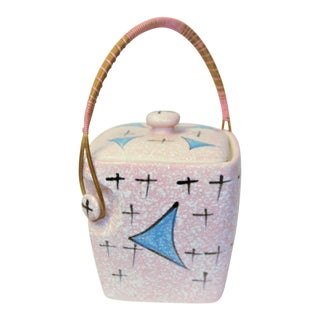 Mid Century Modern Atomic Pink Ceramic Ice Bucket For Sale