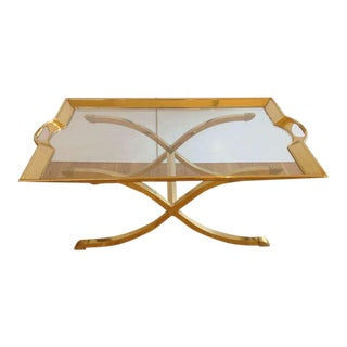 Large Polished Brass Cocktail/Coffee Table by La Barge For Sale