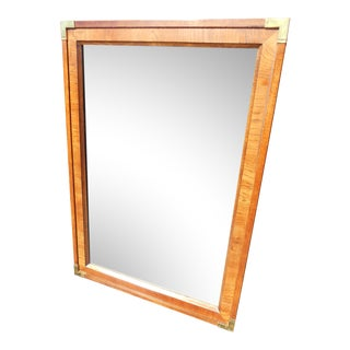 1960s Mid-Century Modern Thomasville Walnut & Brass Wall Mirror For Sale