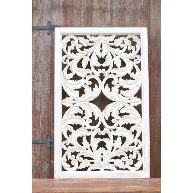 Boho Chic Acanthus Whitewashed Wooden Carved Panel For Sale - Image 3 of 11