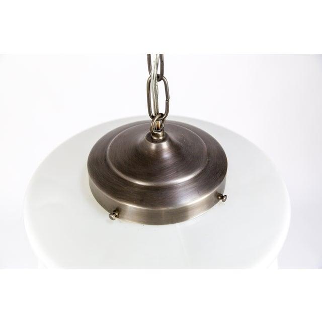 Brass Molded Milk Glass Pendant Light For Sale - Image 7 of 8
