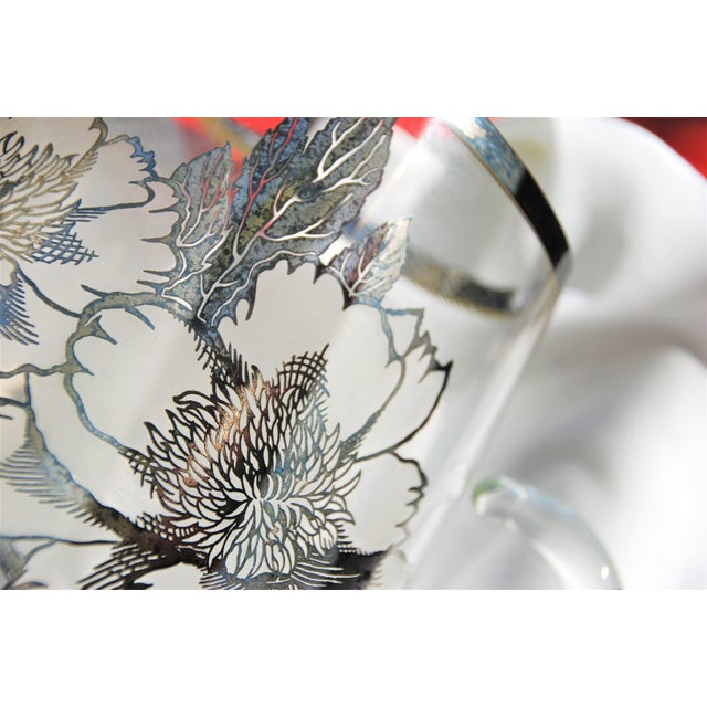 Glass Vintage Sterling Silver Overlay Glass Pitcher For Sale - Image 7 of 9